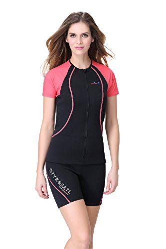 Lemorecn Wetsuits Rash Guard for Men and Women Scuba Diving Short Sleeve  Shirt (Women  2d7a6adcb