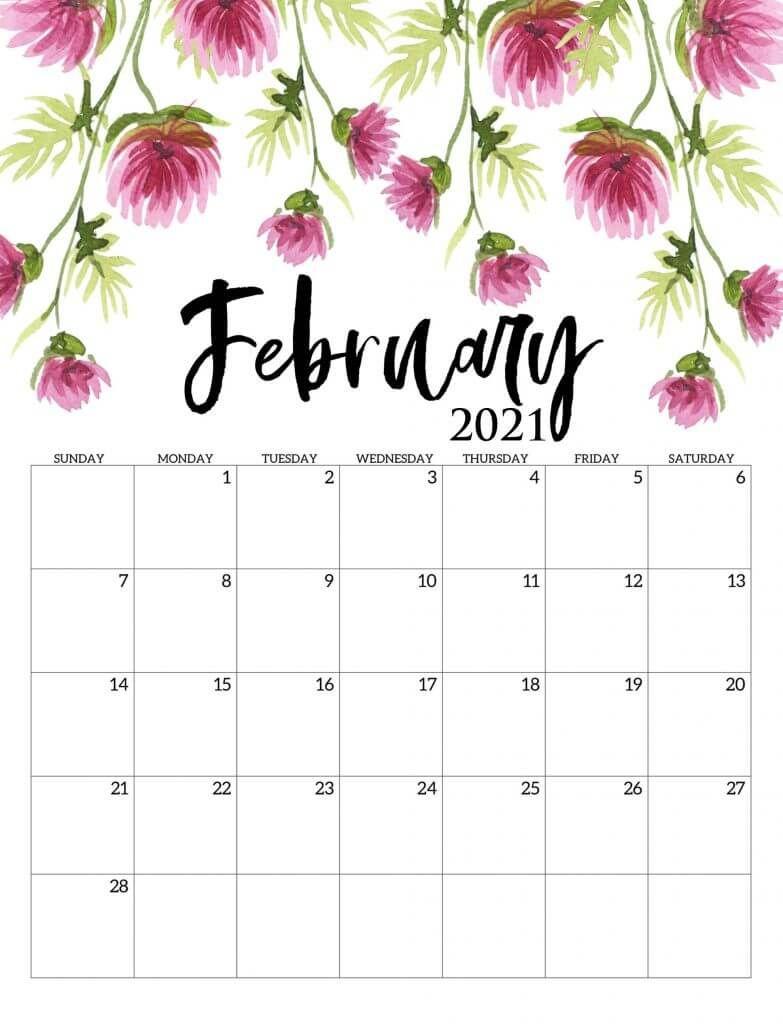 Beautiful february 2021 calendar calendar printables