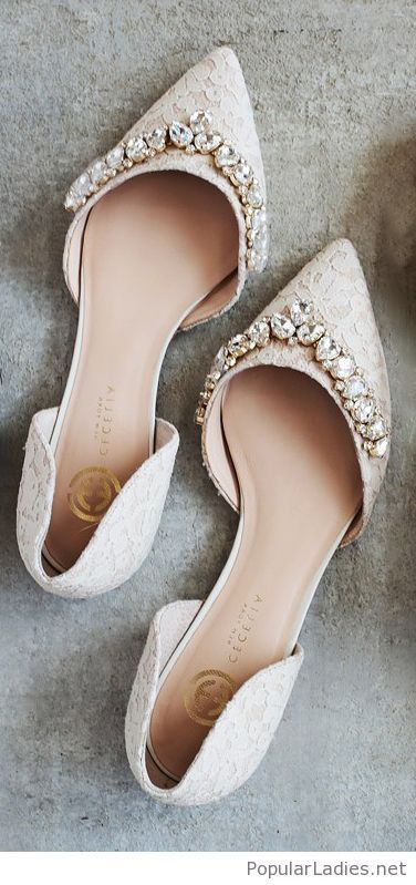 White Lace Flats With Diamonds Wedding Shoes Lace Wedding Shoes Flats Bridal Shoes