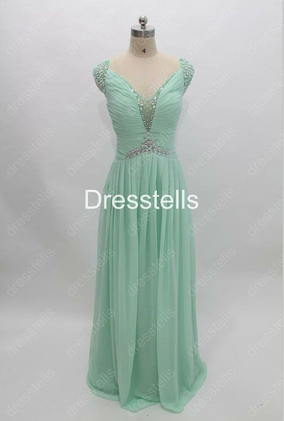 Long Cap Sleeve Mint Bridesmaid Dress by dresstells on Etsy, $139.99   For my bridesmaid dresses i want them to have short sleeves.