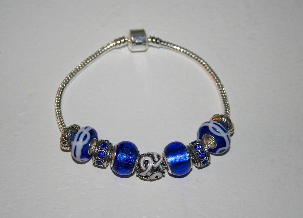 Mesothelioma Royal Blue Charm Bracelet