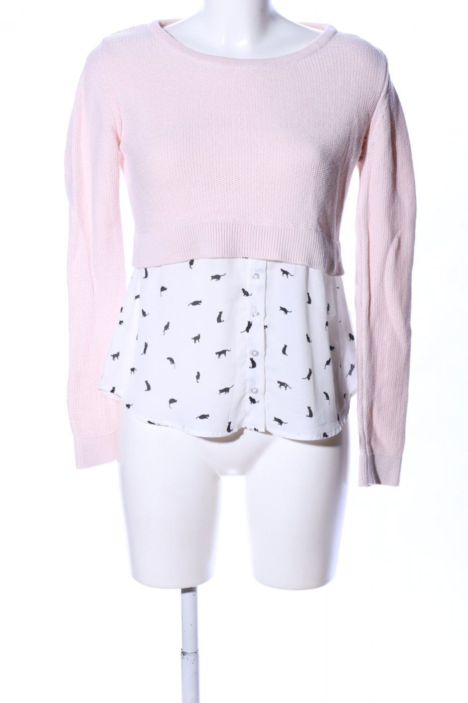 Tally Weijl Bluseneinsatz pink-weiß Allover-Druck Casual-Look | Mädchenflohmarkt