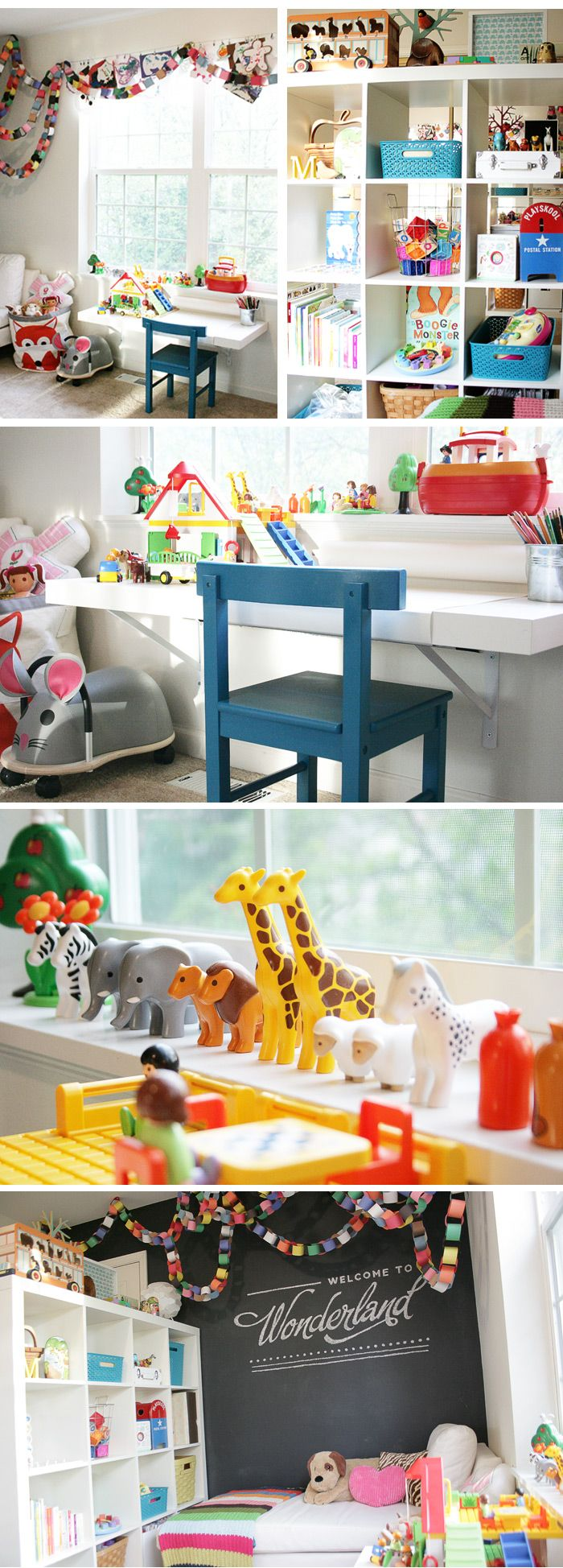 Clementine 39 s desk area this is an old ikea lack console - Ikea muebles infantiles ...