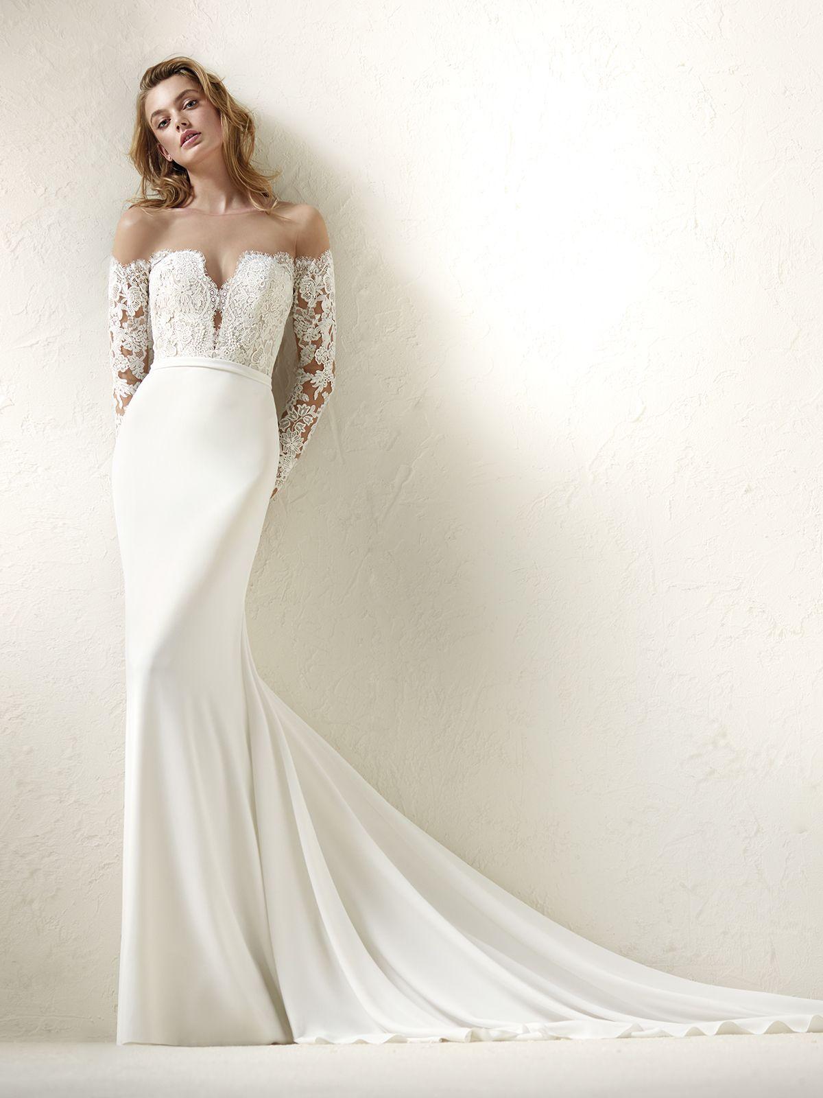 Vestido de Novia de Pronovias (DRACMA), corte sirena, escote hombros ...