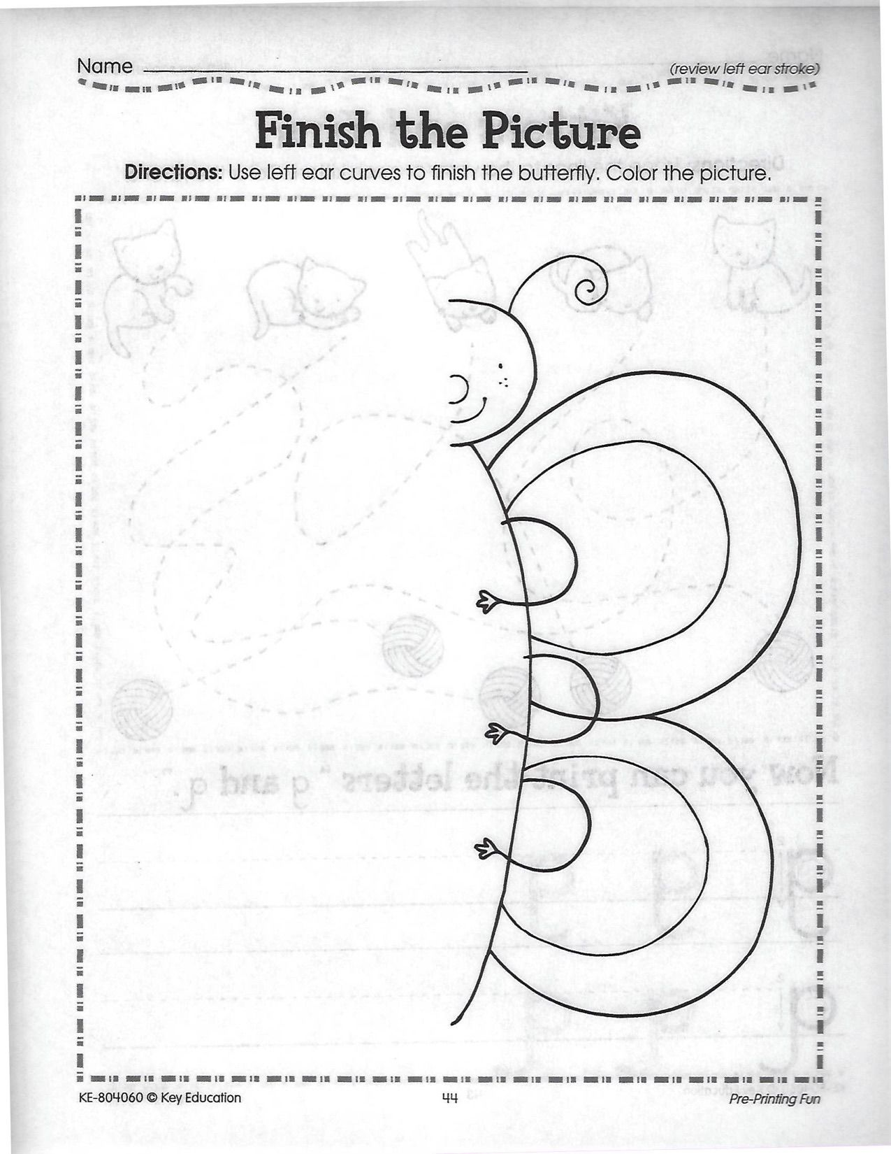 Finish The Butterfly Picture Worksheet