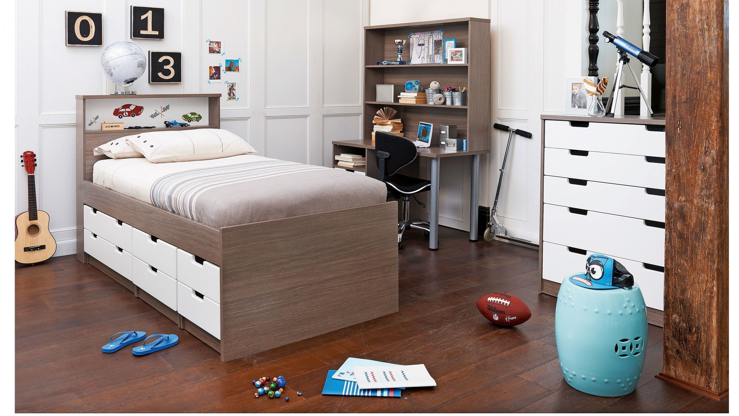 Domino ii single bed complete harvey norman storage - Childrens bedroom furniture with storage ...