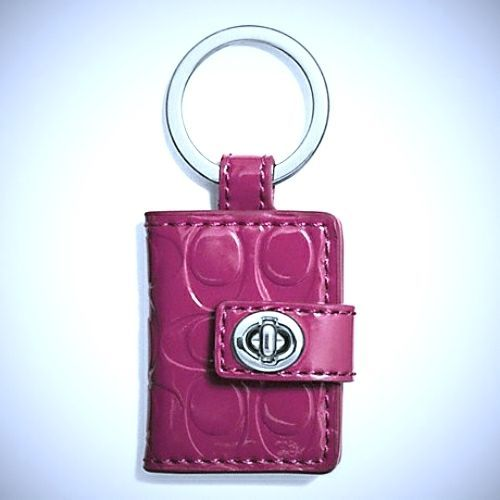 New Coach Embossed Leather Picture Frame Key Ring Silver Crimson F62786   Coach 66ad68135ecd