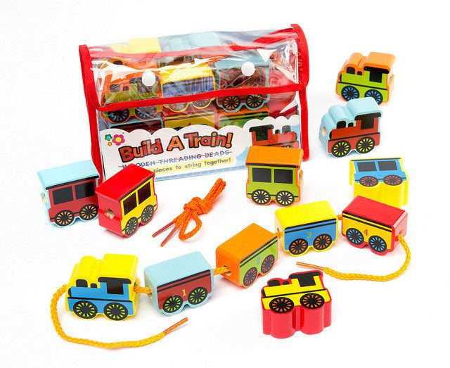 Wooden Lacing Threading Beads Build A Train Fun Play Set Kids Learning Toy Gift
