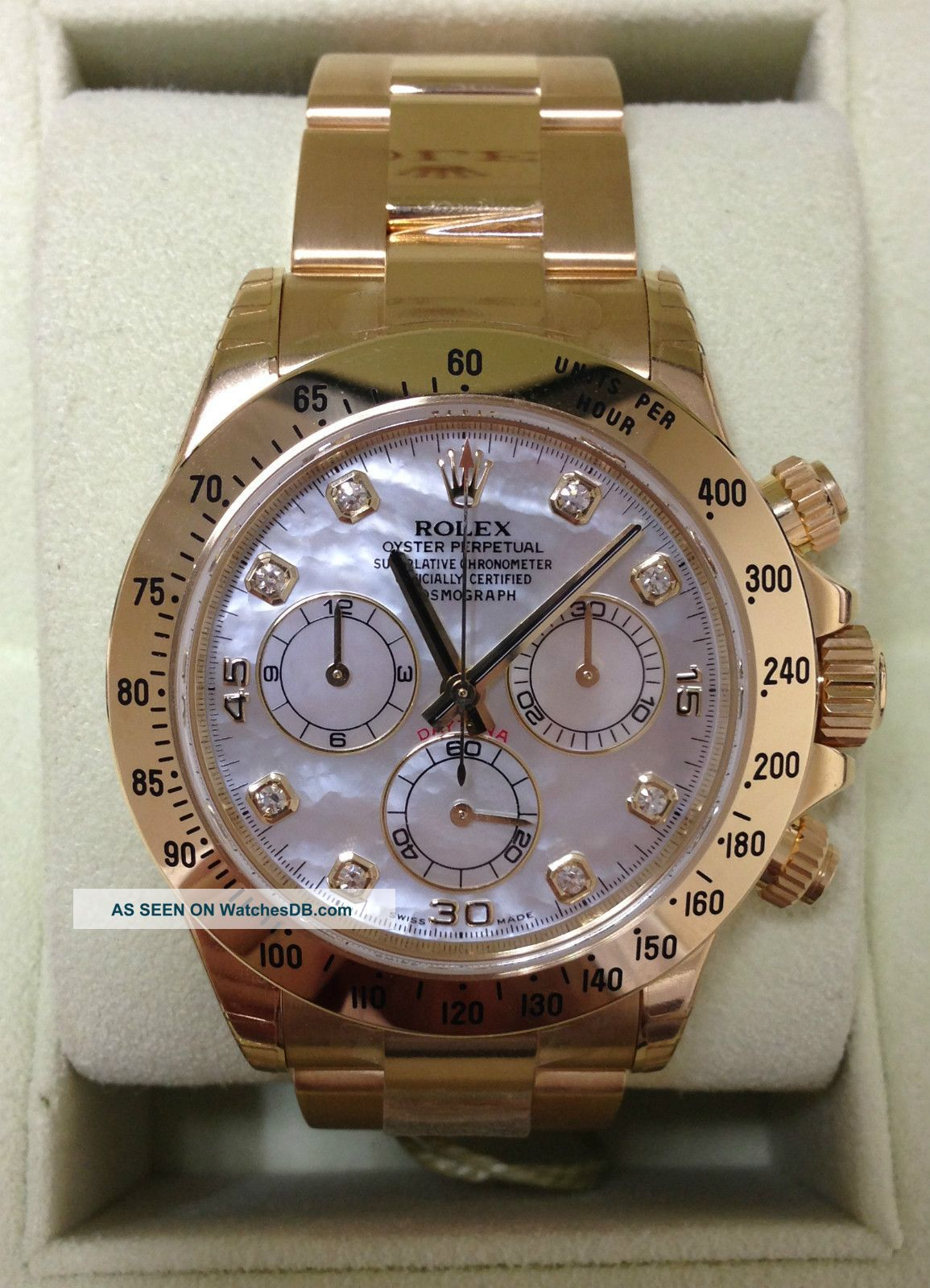 Watch Mom In Bedroom Camera: Rolex Daytona 18k Gold Mother Of Pearl Diamond Dial V