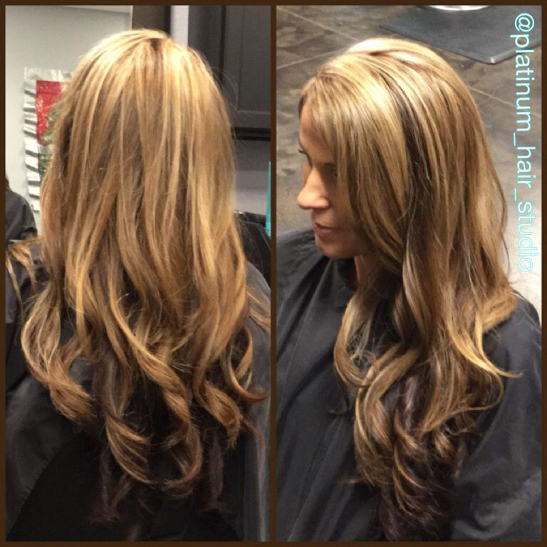 blonde highlights with golden mahogany brown lowlights