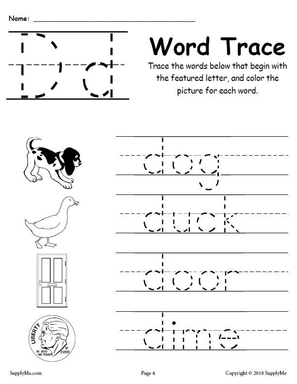 Letter D Words Alphabet Tracing Worksheet Letter D Worksheet Alphabet Tracing Worksheets Tracing Worksheets