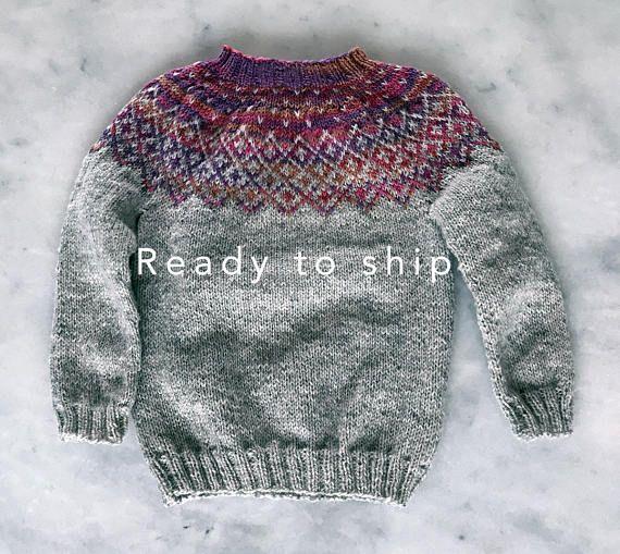 Baby Sweater, hand knitted wool sweater, fair isle sweater ...