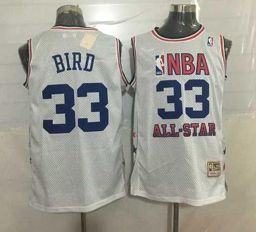 f946a770b7b6 ... 33 larry bird white hardwood classics soul swingman throwback jersey  ebay larry bird indiana state ncaa jersey 33 blue college university  basketball ...