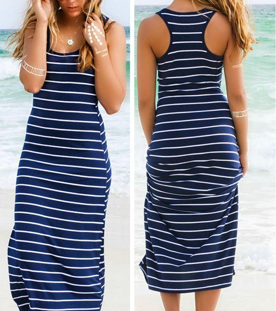 Nice great women summer beach dress party sleeveless long maxi