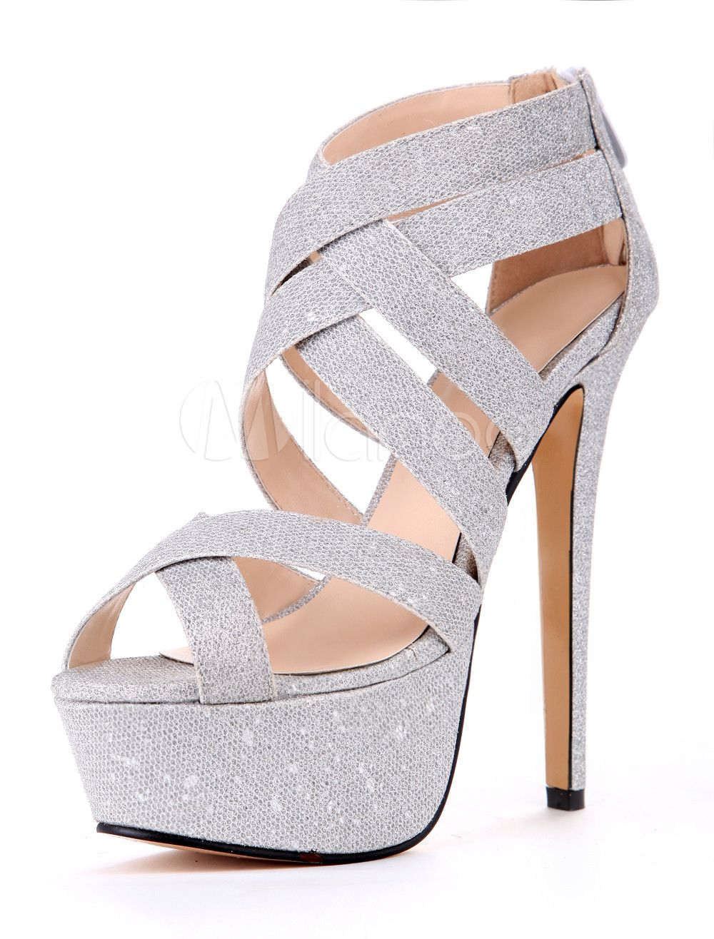 new arrive shoes. Silver Cloth Stiletto Heel Gladiator Sandals 5036172faf6a