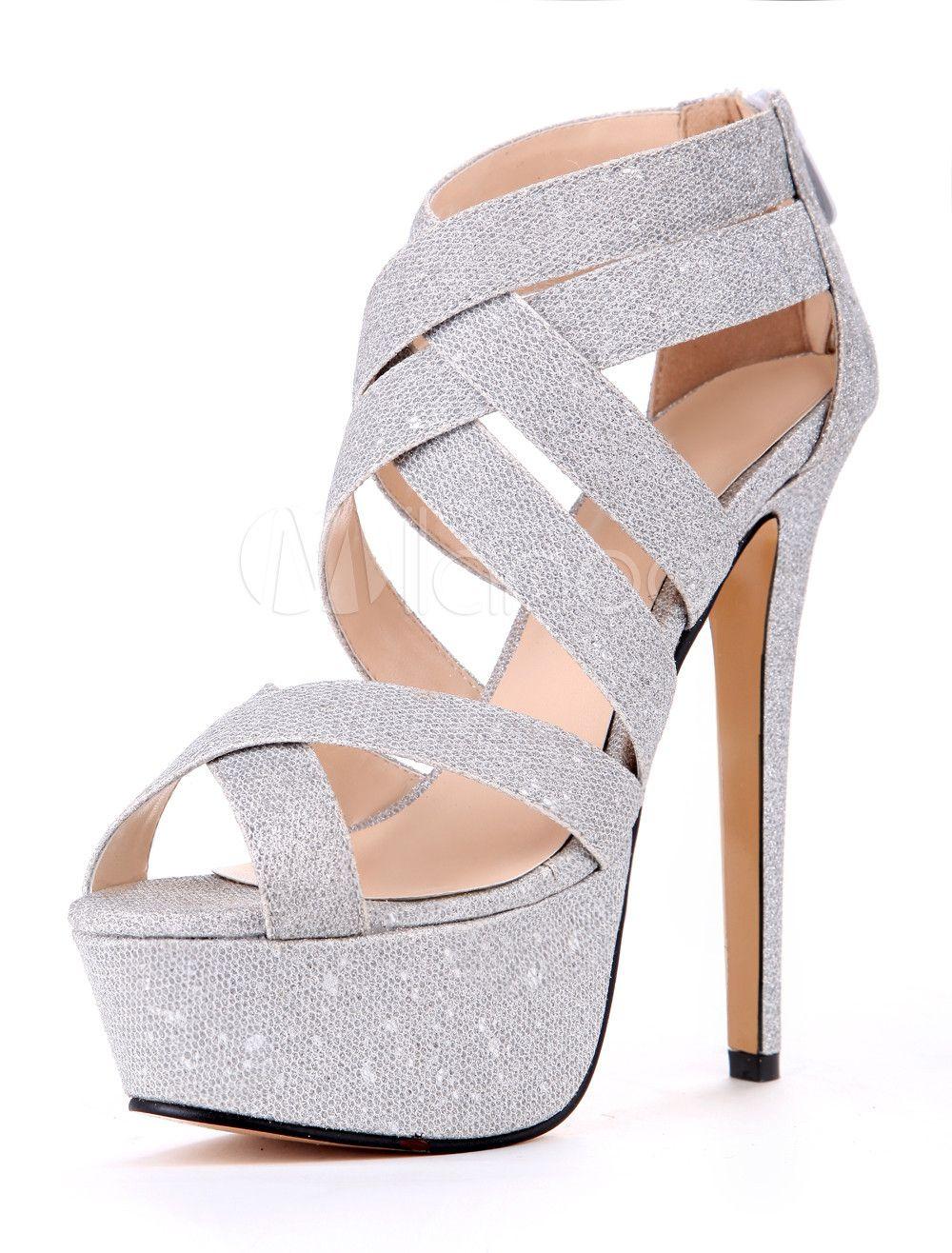 16f2864ab9bdf Silver Cloth Stiletto Heel Gladiator Sandals