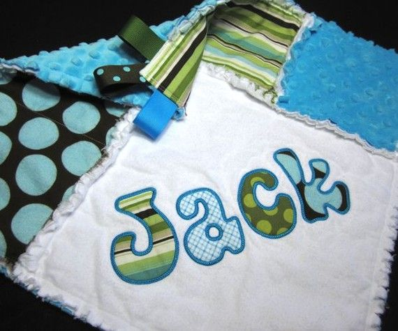 Personalized Baby Blanket Mini Rag Quilt Turquoise