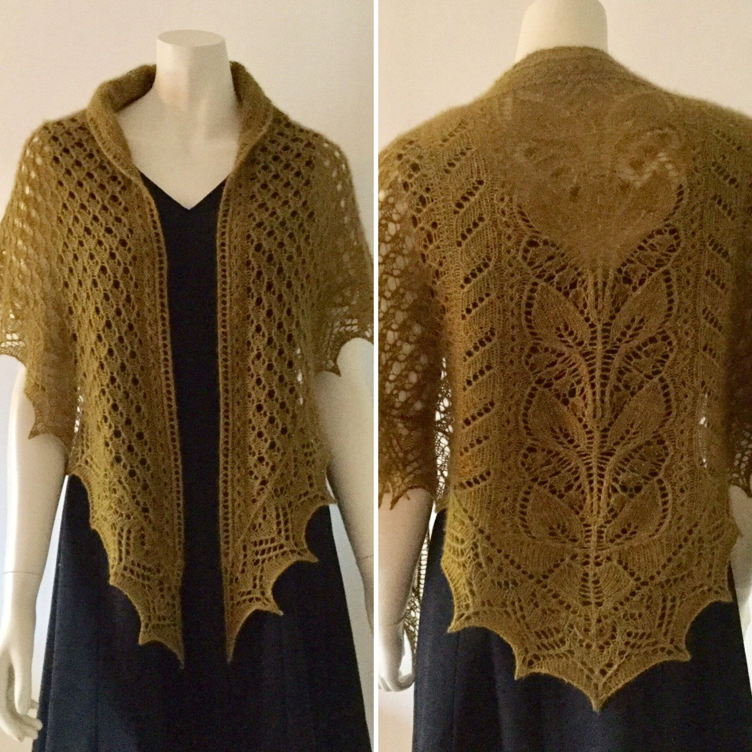 QIVIUT (musk ox) shawl, hand knitted in a beautiful lace pattern ...