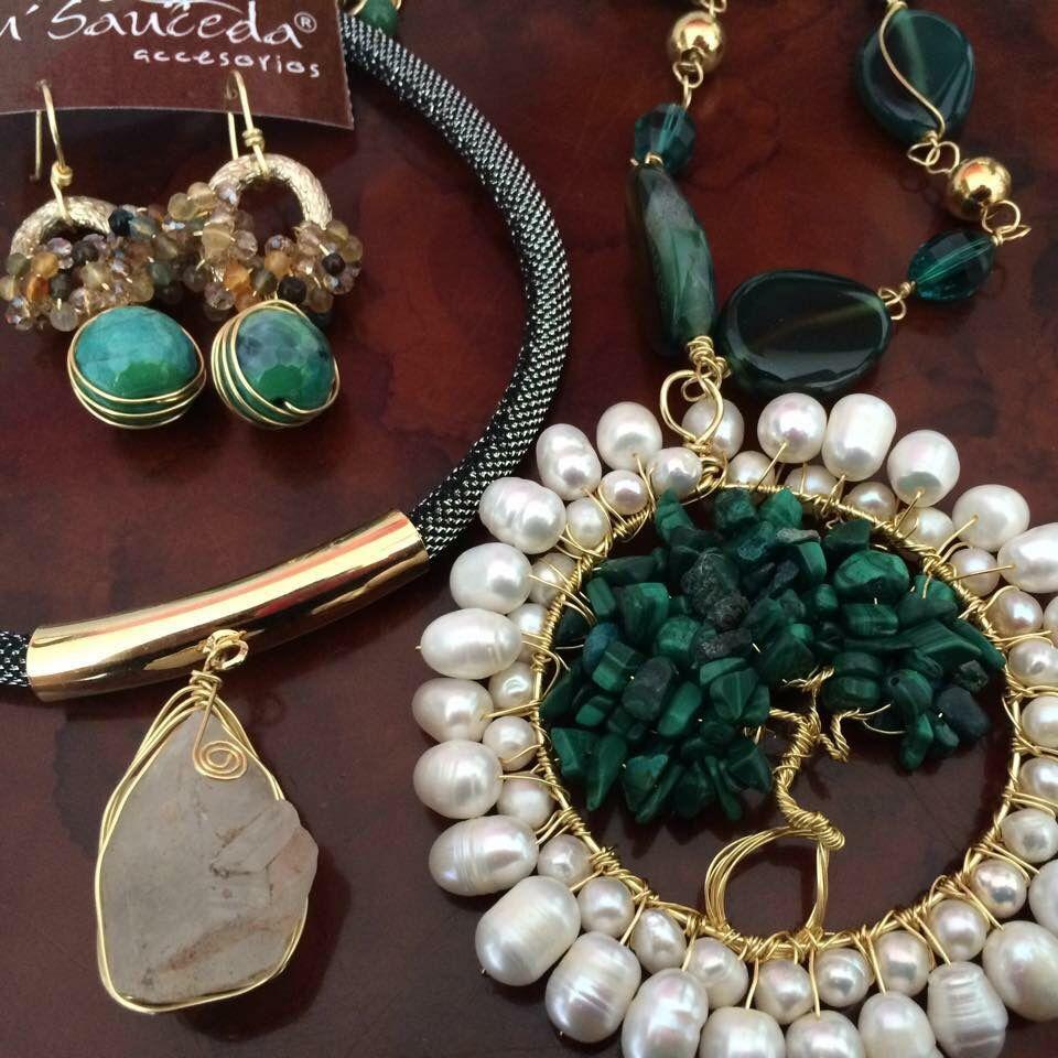 Jaspe quarzo turquesa perla joyeria chapa de oro hecho a for Disenos de joyas en oro