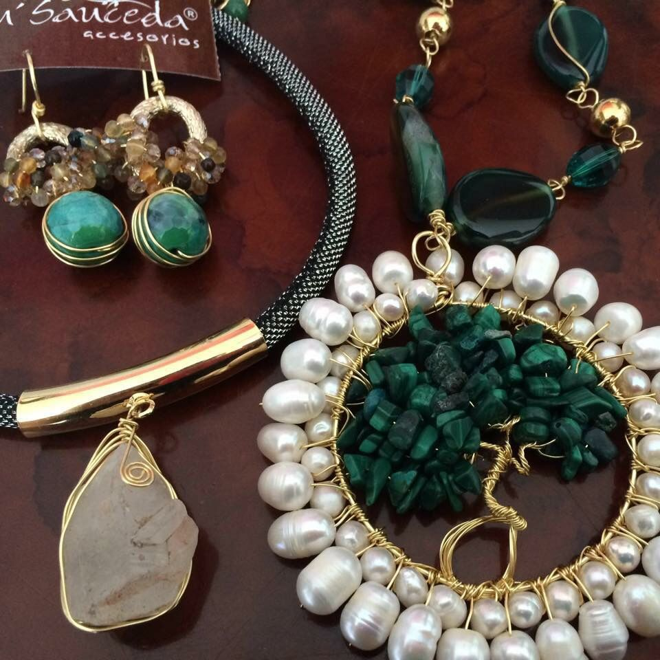 da31a663deb2 Jaspe quarzo turquesa perla joyeria chapa de oro hecho a mano accesorios  diseño mexicano mayoreo laminado