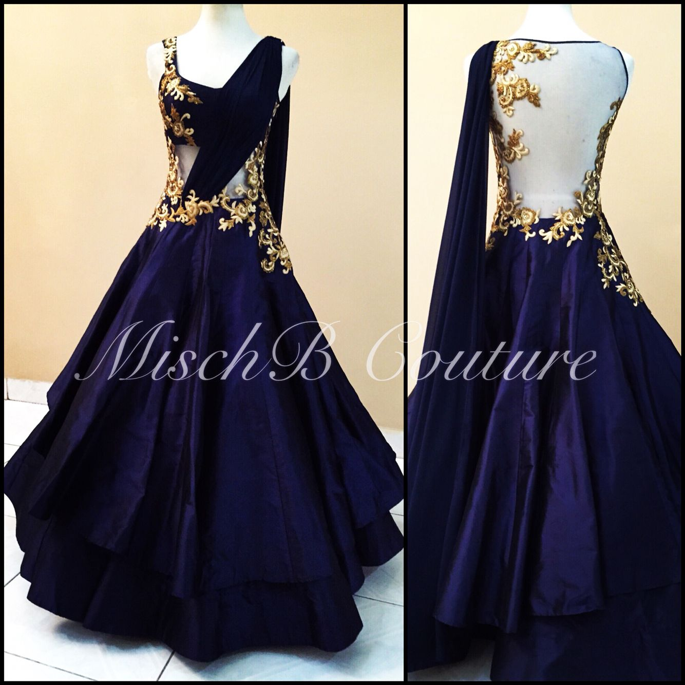 Into the blue fusion gown by mischb couture for the for Indian fusion wedding dress