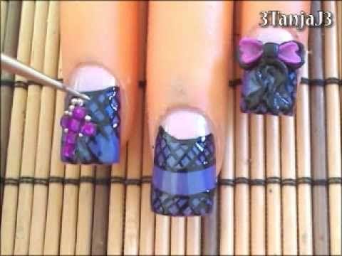 ▶ *Gothic Lolita Inspired* 3D Acrylic Nail Art Design - YouTube