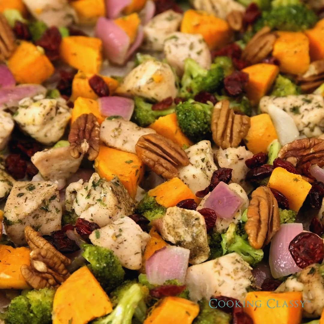 Sheet Pan Chicken Broccoli and Sweet Potatoes