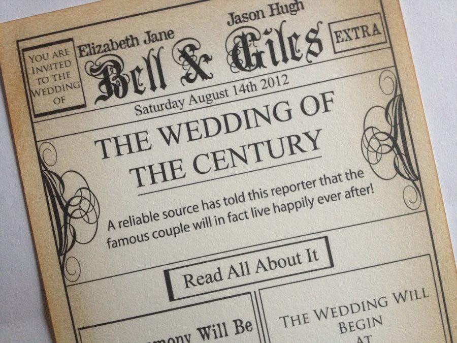 Vintage Style Newspaper Invitation by BottleAndCork on Etsy $350 - old newspaper template
