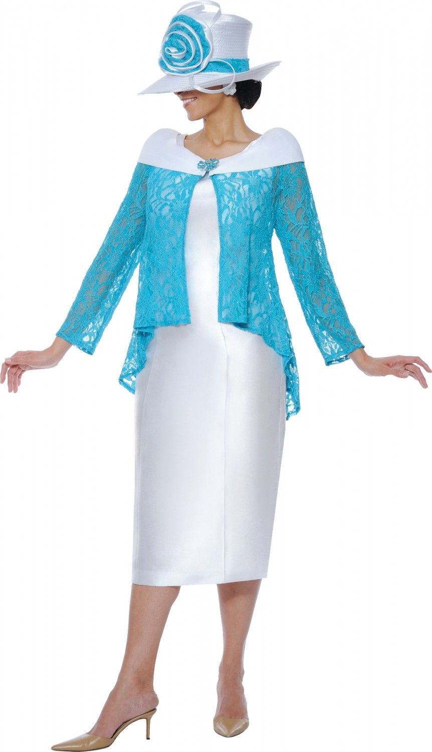 White dress for church - White Church Dress With Turquoise Lace Cover Dn5342 Divine Church Suits