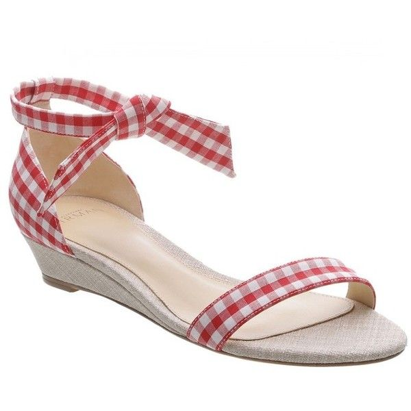 e074c63dde9 Alexandre Birman Red  Clarita Gingham  Wedge Sandal ( 425) ❤ liked on  Polyvore featuring shoes