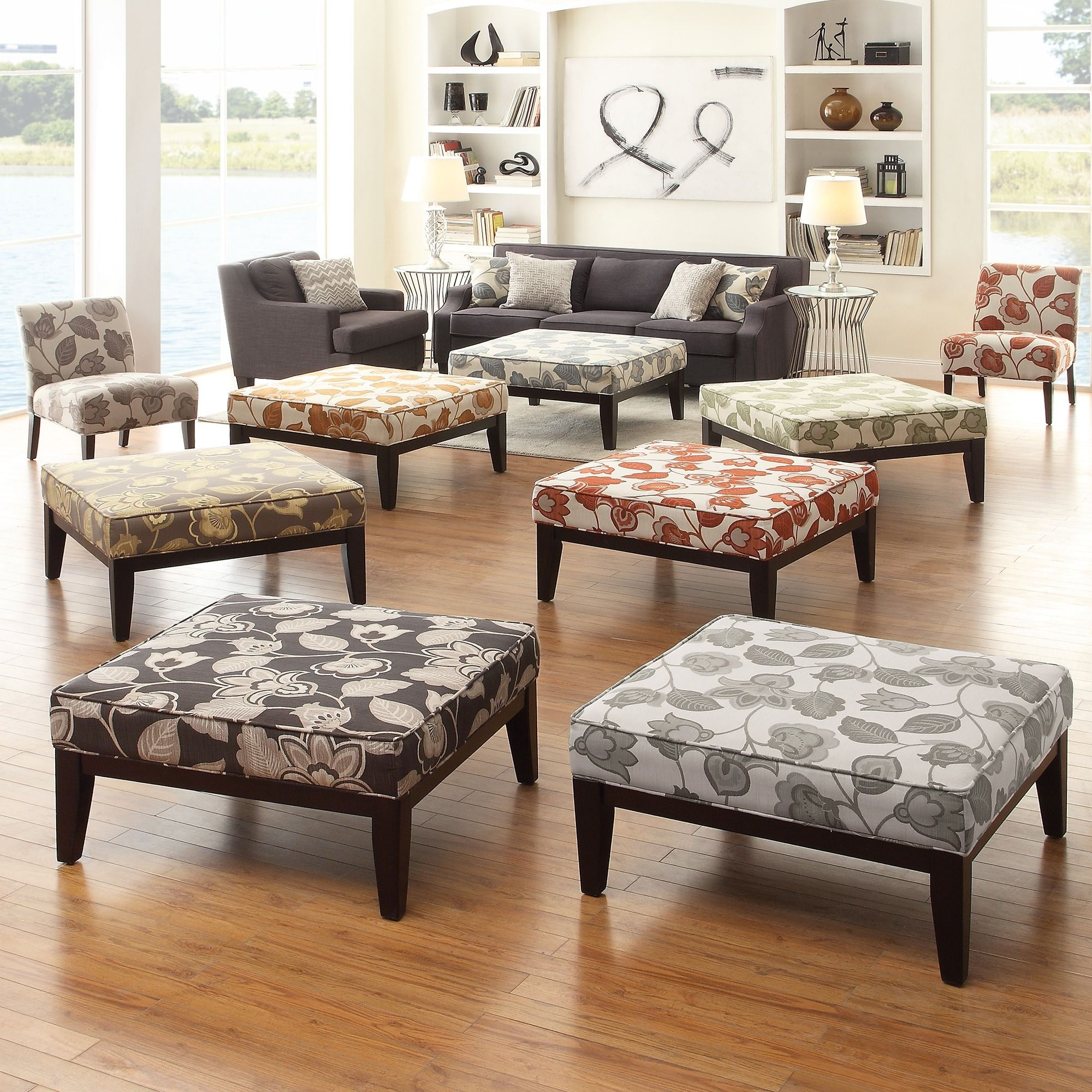 INSPIRE Q Ashland 36-inch Floral Upholstered Cocktail Ottoman by iNSPIRE Q
