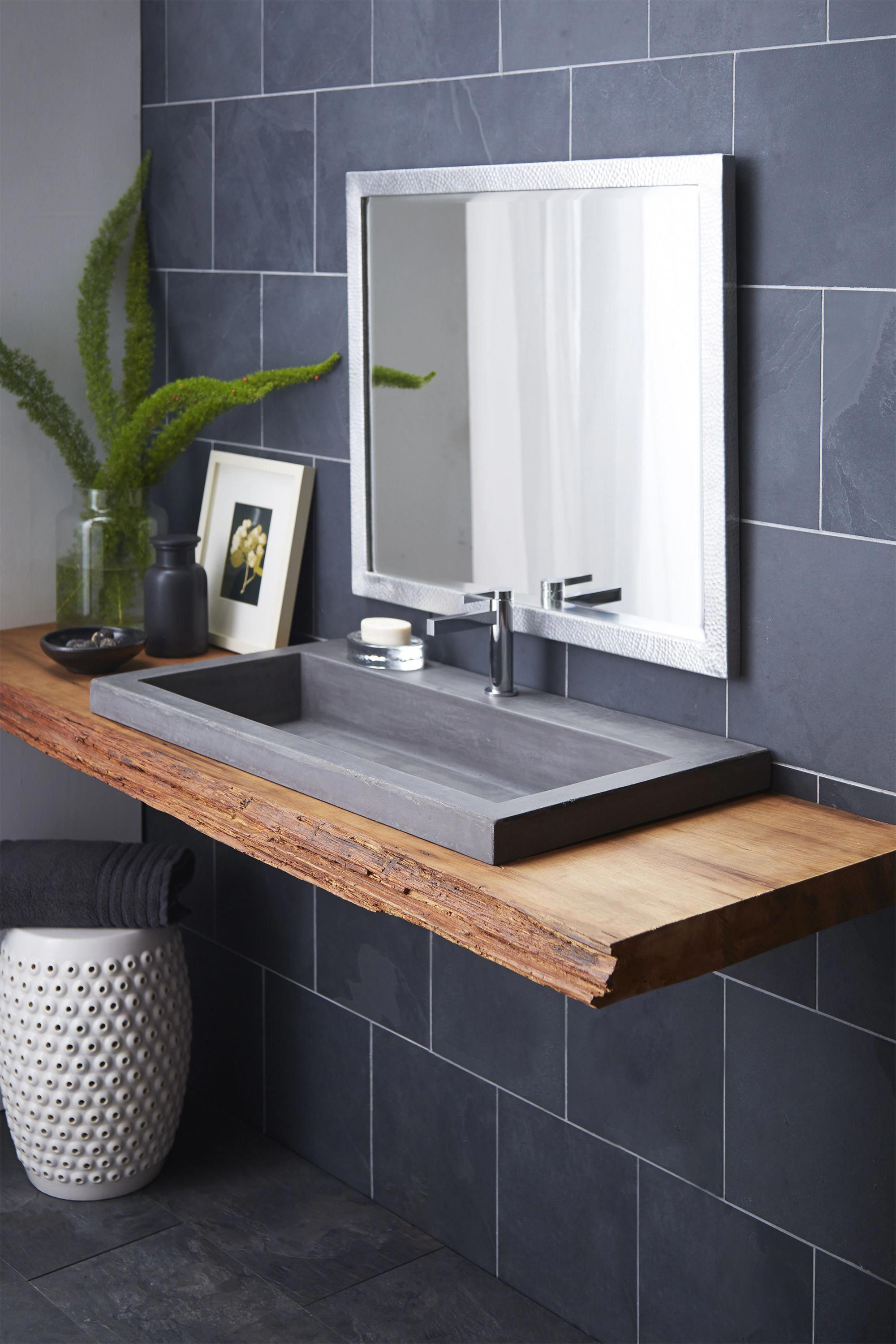 With its clean lines and generous size, this concrete sink