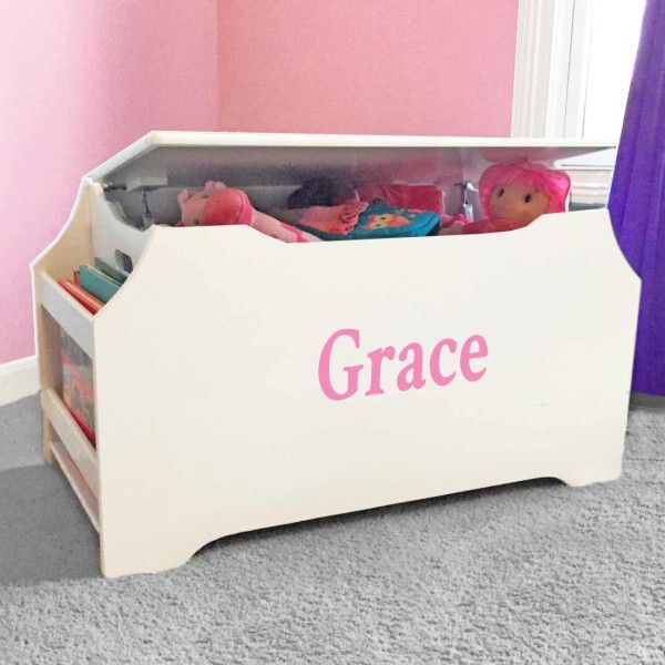 Personalized Dibsies Kids Toy Box With Book Storage White Dibsies Personalization Station Kids Toy Boxes Toy Boxes Personalised Toy Box