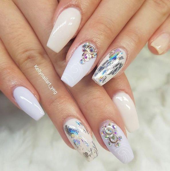 White gel nails art design made by @kellynailart_yeg using LUXE GEL ...
