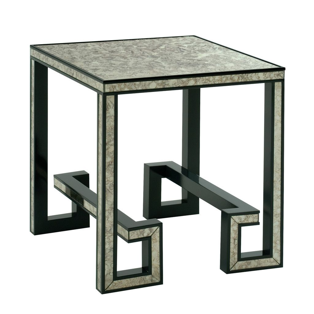 Greek Key Mirrored Side Table Mirrored Side Tables Contemporary