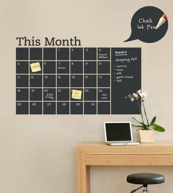 monthly calendar decal, chalkboard wall decal, monthly planner