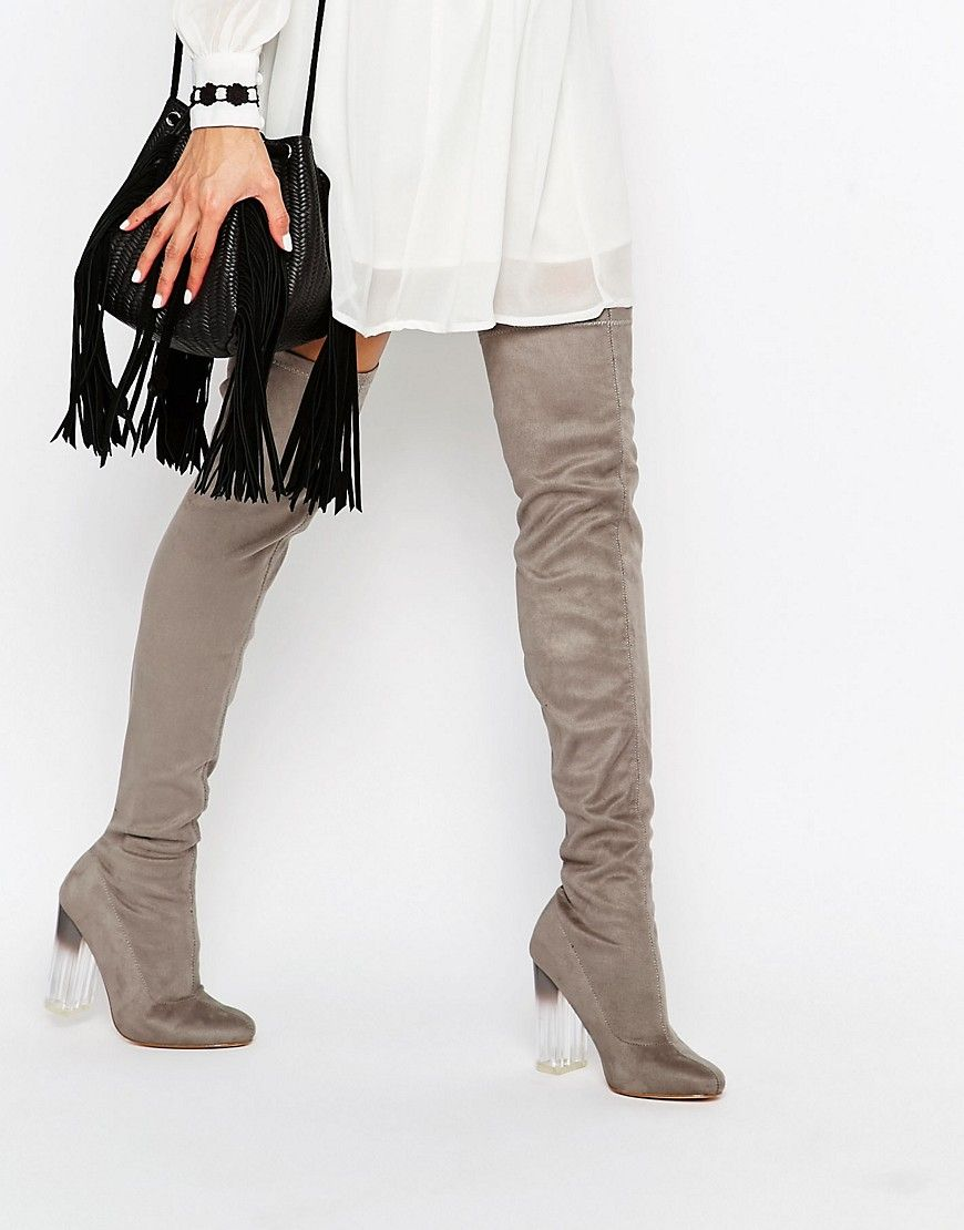 5946a0f85e25 Image 1 of Truffle Collection Over The Knee Boot with Clear Heel ...