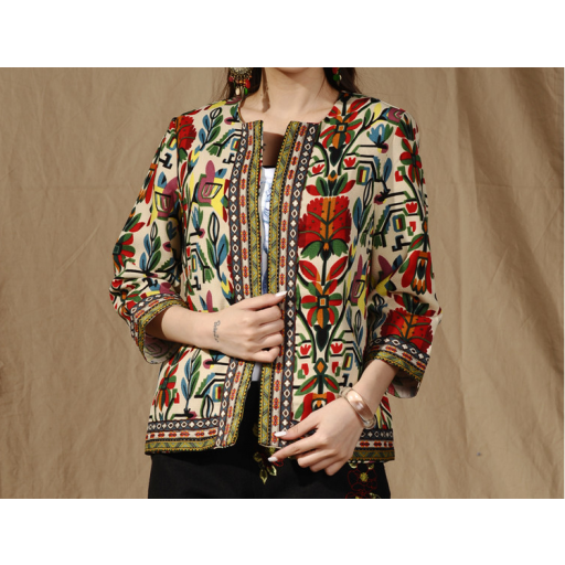 جاكيت بتطريز الأطراف جاكيت بناتي شتوي جاكيت فخم بأكمام تصل الي تحت المرفق مفتوح من الأمام مطرز Embroidery Jackets Long Sleeve Blouse Kimono Top