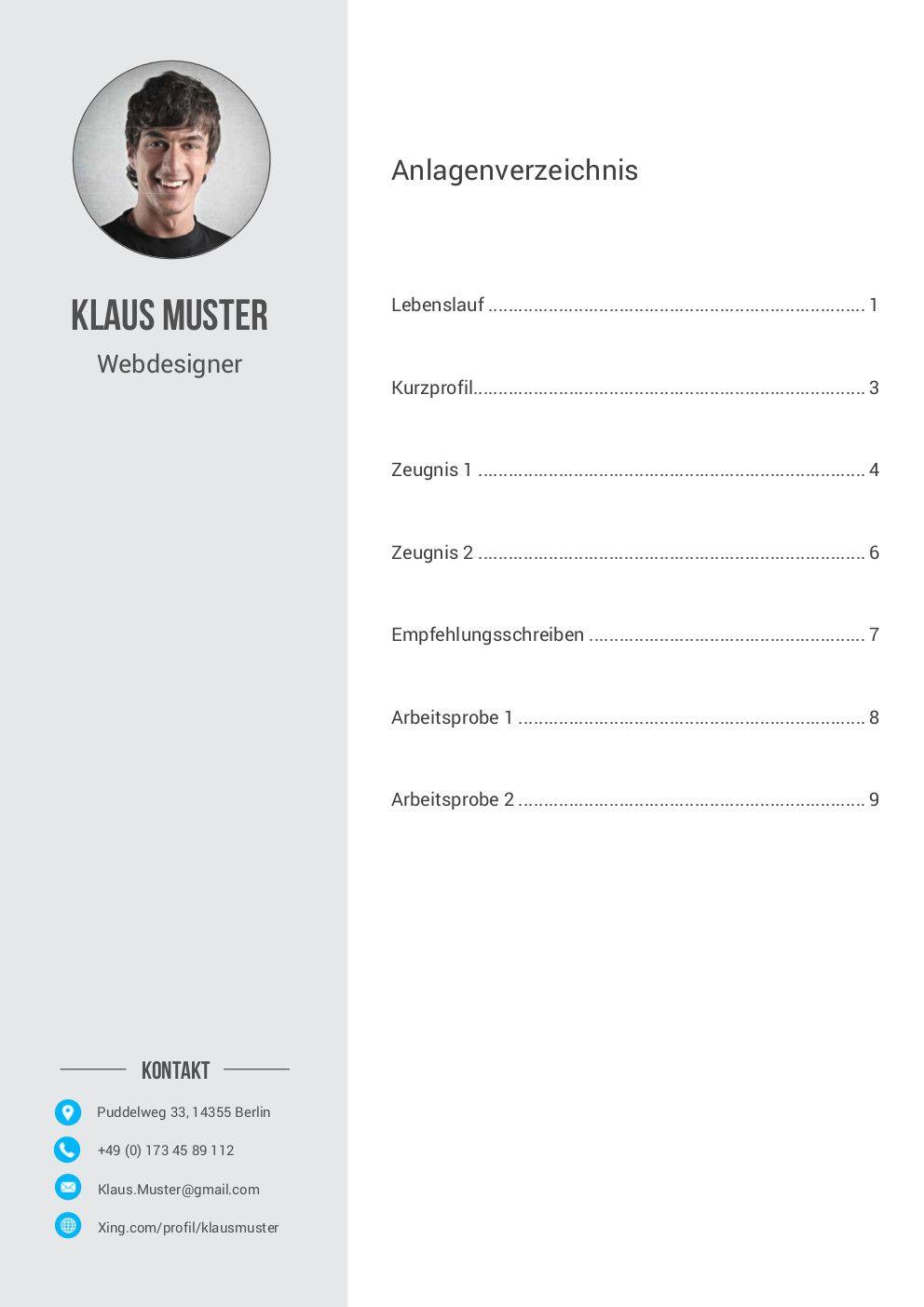 Bewerbung Anlagenübersicht Muster Vorlage 6 | lebenslauf | Pinterest