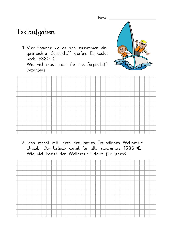 3 X Doppelseitiges Arbeitsblatt Mit 4 Textaufgaben Zur Schriftlichen Subtraktion Es Muss Nur Dur