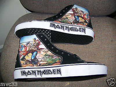 1ec8a701b8ef NEW Vintage Iron Maiden THE TROOPER Vans SK8 Hi-Top Skateboard Shoes 9.5 11  Rare