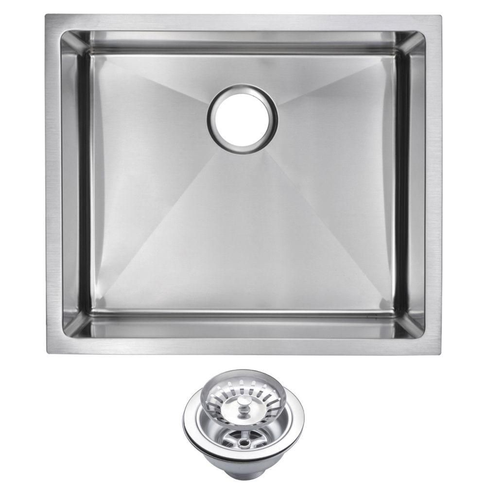 Undermount Small Radius Stainless Steel 23x20x10 0 Hole Single Basin Kitchen Sink With Strainer In Satin Finish Premium Scratch Resistant
