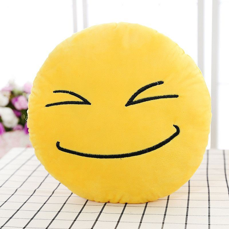Smiley Emoji Yellow Round Pillow Sofa decorative pillows Stuffed Plush coussin cojines whatsapp emoji cushion Christmas