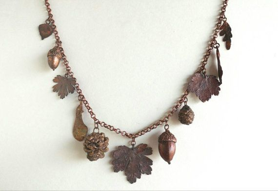Leaves and Seeds Electroformed Copper by FacetedIndustries on Etsy