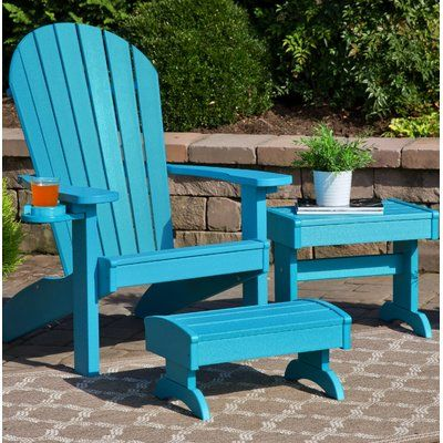 Bayou Breeze Kells 3 Piece Plastic Adirondack Chair Set With