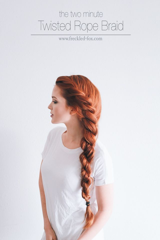 The 2 Minute Rope Braid Hairstyle (The Freckled Fox)