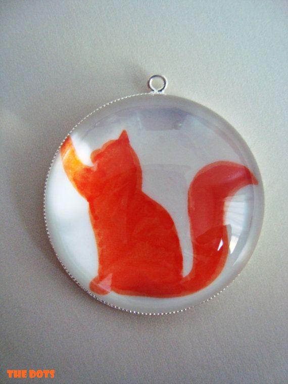 Cat orange silhouette  glass pendant necklace by TheDotsBrazil, $15.00