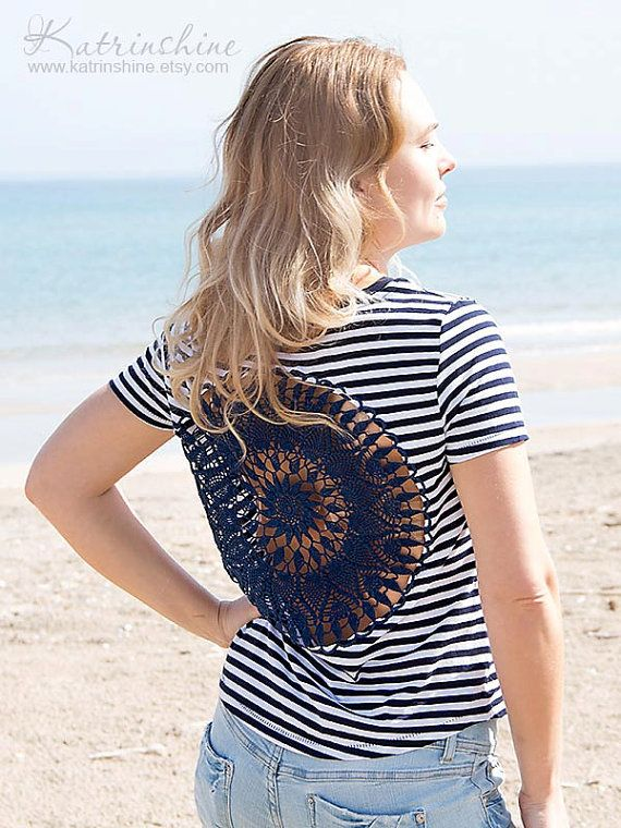White and dark blue stripes t-shirt with upcycled vintage crochet doily back on Etsy, $35.00
