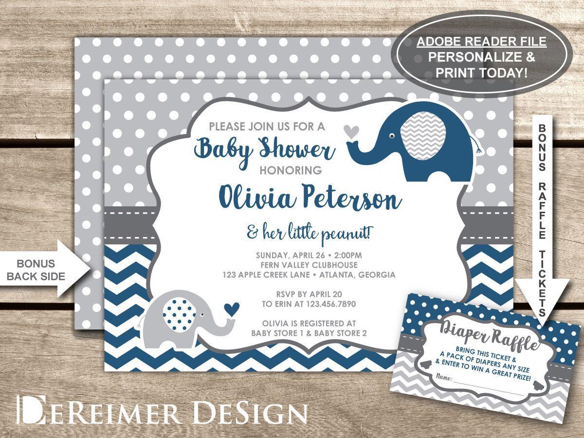 Elephant Baby Shower Invitation, Navy, Blue, Gray, Little Peanut ...