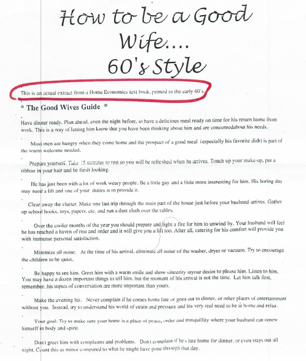 How To Be A Good Wife In The 60s Some Things Never Change